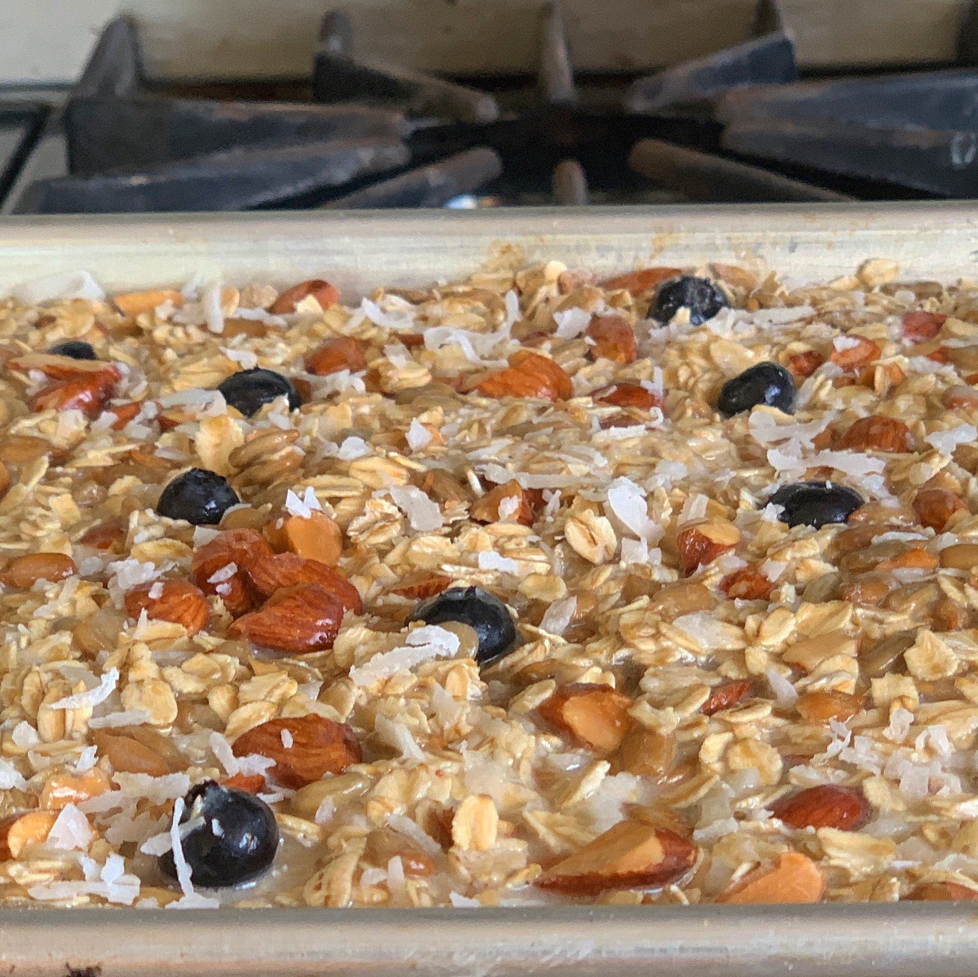 baked oatmeal bars into oven